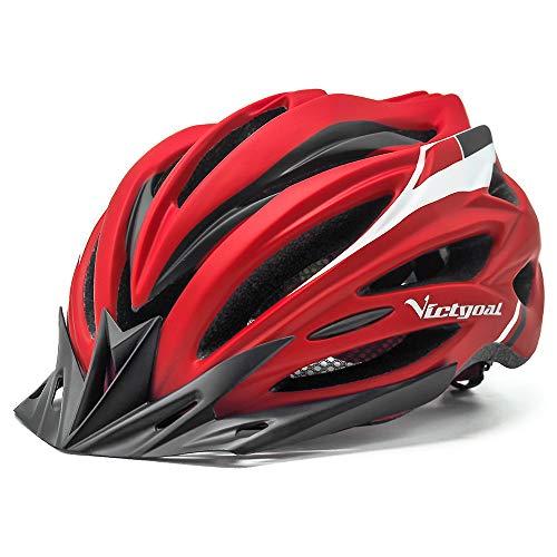 VICTGOAL Fahrradhelm Herren Damen MTB Mountainbike Helm mit Visier Abnehmbarer Sonnenschutzkappe und LED licht Radhelm Fahrradhelme für Erwachsenen 57-61 cm (Rot)