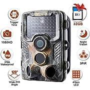"""Crenova 12MP 1080P HD Wildkamera mit 16GB SD-Karte 120° Breite Vision Infrarote 20m Nachtsicht 2.4"""" LCD Jagdkamera Jagdzeug Überwachungskamera"""