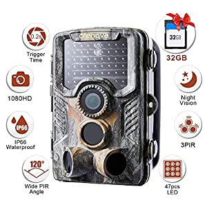 Crenova 20MP 1080P HD Wildlife Hunting Trail Camera Include 32GB SD Card 47 pcs 940nm IR LEDs and IP66 Waterproof Game Camera Motion Activated Night Vision Perfect for Wildlife Observation