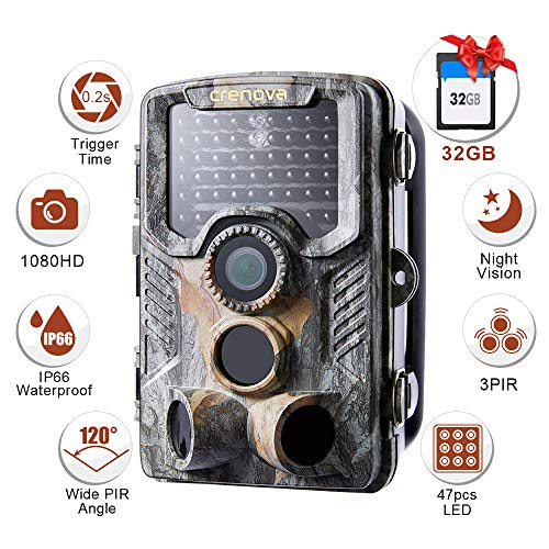 Crenova  20MP 1080P HD Wildlife Hunting Trail Camera Include 32GB SD Card 47 pcs...