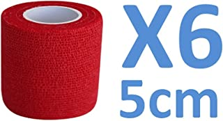 Venda Cohesiva Rojo 6 rollos x 5 cm x 4,5 m autoadhesivo flexible vendaje, calidad profesional, primeros auxilios, lesiones de los deportes, rodillos embalados individualmente - Pack de 6