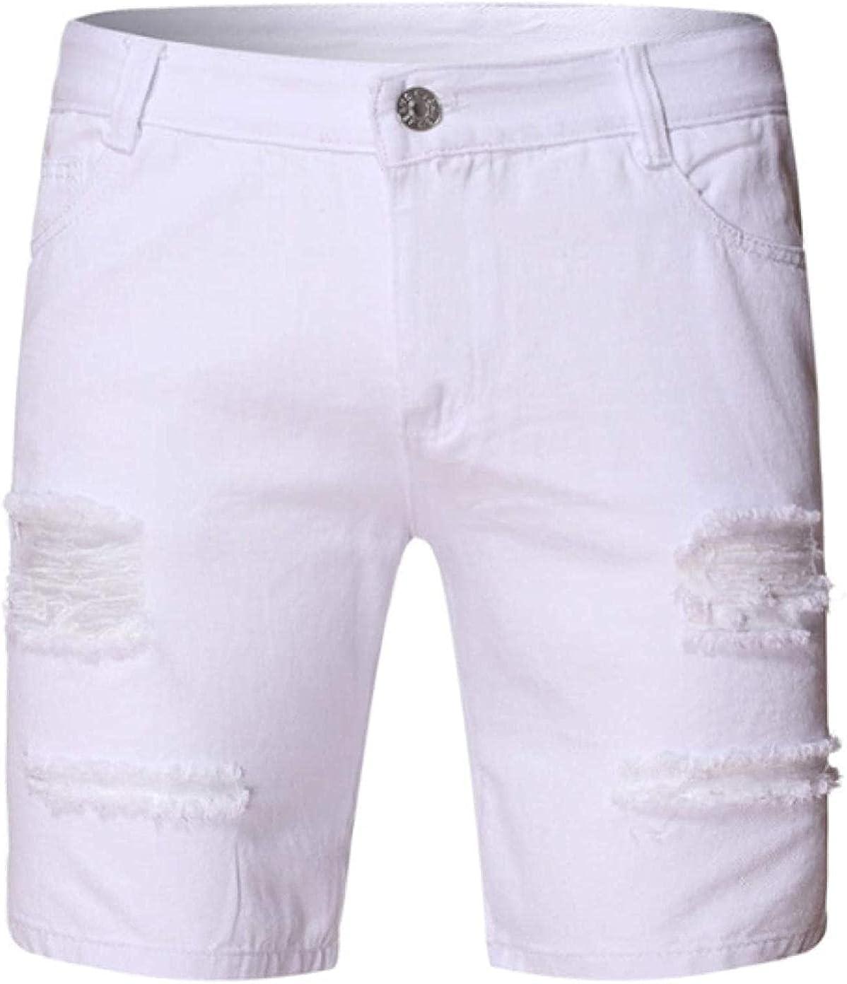 ZYUEER Men's Denim Shorts Ripped Holes Torn Edges Stretch Straight Slim-fit Zipper
