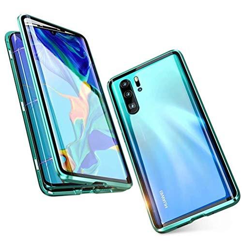 Funda para Huawei P30 Pro Magnetica Adsorption Carcasa, 360 Grado Frente y Parte Posterior Cuerpo Completo Transparente Vidrio Templado Protección Aluminio Anti Choque Metal Cover Case, Verde