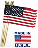 GIFTEXPRESS Pack of 24, Proudly Made in USA 8 x 12 Inch Spearhead Handheld American Stick Flags on 24' Stick/Grave Marker American Flags/USA Stick Flag (24)