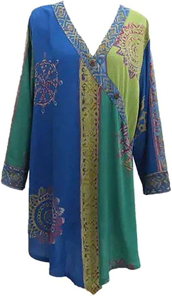 Shaybali Batik Asymmetrical Weekly update Tunic Top Springs B Ancient Challenge the lowest price of Japan ☆ Crystal
