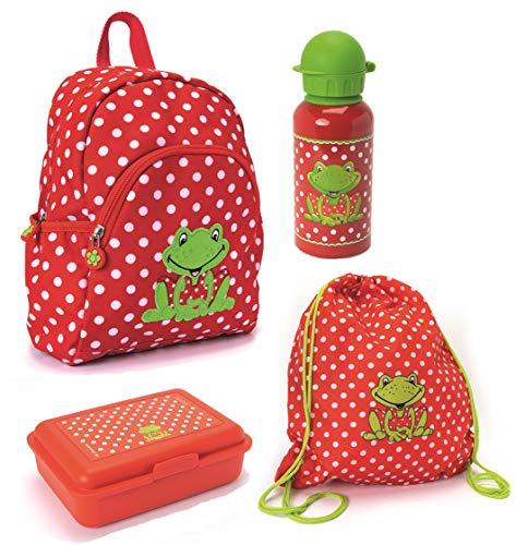 Spiegelburg Kindergarten Rucksack Set 4tlg. mit Turnbeutel, Brotdose und Trinkflasche Fröhliche Tupfen Frosch