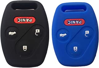 Black and Blue Silicone Rubber Keyless Entry Remote Key Fob Case Skin Cover Protector for Honda 3+1 Buttons