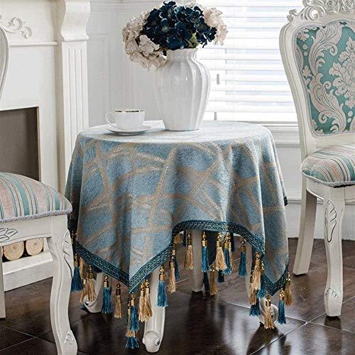 Tafelkleed van stof voor thee, rond, eenvoudig, waterdicht, decoratief tafelkleed (kleur: blauw, grootte: 220 cm rond tafelkleed) grootte: 100 cm rond tafelkleed