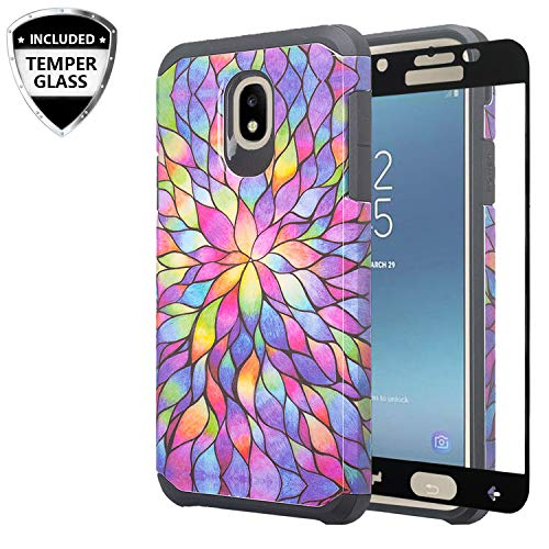 Galaxy J7 Star Case, J7 Crown/J7 Refine /J7 V 2nd Gen /J7 Aura w/[Tempered Glass Screen Protector] GW USA Silicone Shock Proof Dual Layer Hard Case Cover for Samsung Galaxy J7 2018 - Rainbow Flower