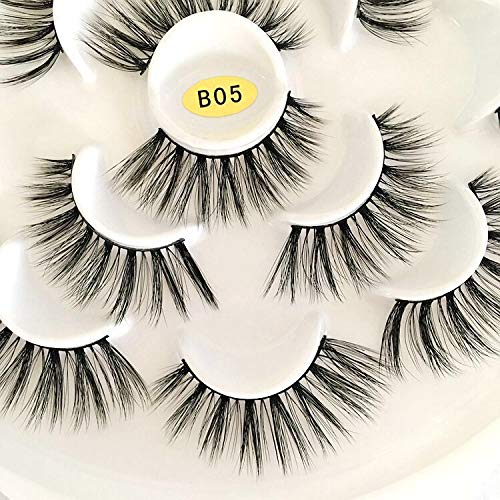 Vivien Mink Lashes 5D 7 Pairs Faux Mink Eyelashes Handmade Volume Fluffy Natural Look False Eyelashes 18mm Eyelashes Style B05 2