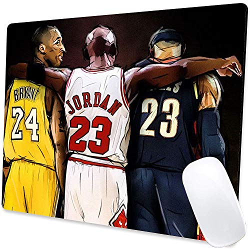 Gaming Mouse Pad,Jordan Kobe and James Legends Fan Tribute Mouse Pad Non-Slip Rubber Base Mouse Pads for Computers Laptop Office, 9.5'x7.9'x0.12' Inch(240mm x 200mm x 3mm)