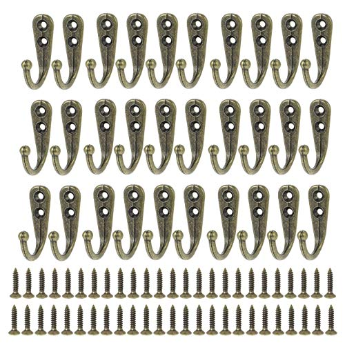JZK 30 x Bronze Metall Wandhaken mit Schrauben Garderobenhaken Einzelhaken Haken zum Aufhängen von Kleidung, Tassen, Utensilien, Werkzeug, Handtüchern
