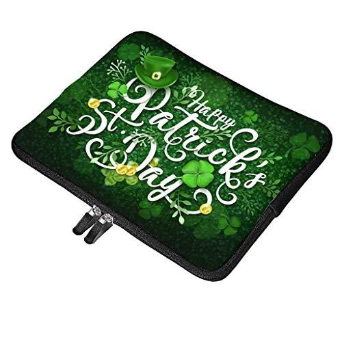 Funda multifuncional para portátil con asa compatible con el día de San Patricio, impermeable, con bolsillo para accesorios, 32 x 24 x 1,5 cm, color blanco