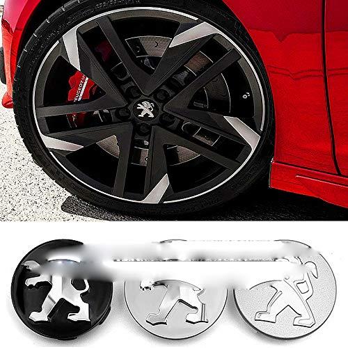 wangjianbin 4 StüCk 60mm Radmitte Radkappen, Auto Emblem Abzeichen Logo Radmitte Kappe, FüR Peugeot 107 207 307 407 507 508 408 308 506 206 406 2008 5008 3008