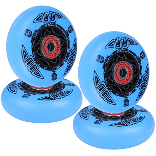 AOWISH 4-Pack Inline Skate Wheels Outdoor Asphalt Formula 90A Aggressive Inline Skates Replacement Wheel with Pre-Installed Bearings ABEC 9 (Blue, 72mm)