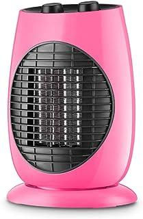 HM&DX PTC Cerámica Espacio Calefactor Ventilador Y Enfriador,Oscilante Mini Calefactor eléctrico Sobrecalentamiento y Consejo Sobre Cierre de protección Inicio Dormitorio Oficina-Rosa