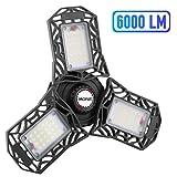 LED Garage Lights, 60W LED Garage Ceiling Lights 6000LM Garage Lighting, Deformable LED Shop Lights for...
