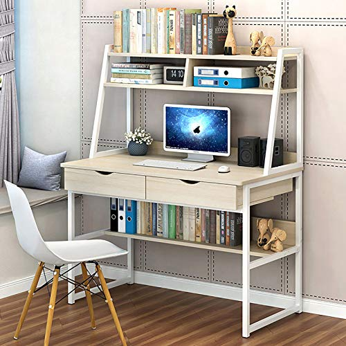 XUELIAIKEE Home Office Computer Desk with Hutch and Shelf,Modern Wood Study Writing Desk with Bookshelf PC Laptop Table Workstation Metal Frame-A 100x50x140cm(39x20x55inch)