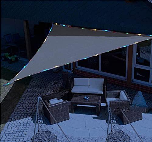 ACCZ Wasserdicht Sonnensegel Mit Solarenergie LED Nachtlichtern Beleuchtung, Hergestellt Aus Hochwertigem Wasserdichtes Polyestergewebe, 3x3x3M, Dreieck Grau, Geeignet Für Garten/Terrasse/Grill