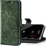 SURAZO Handyhülle für Apple iPhone 12 und iPhone 12 Pro – Premium Echtleder Hülle Schutzhülle mit [Standfunktion, Kartenfach, RFID Schutz, Blumenmuster] Handmade Klapphülle Wallet case (Grün)