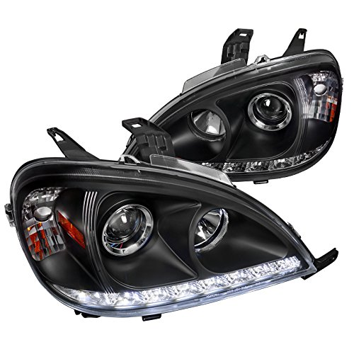 Spec-D Tuning 2LHP-BW16398JM-TM Mercedes Benz W163 ML Class Black Projector Headlights w/LED DRL Strip