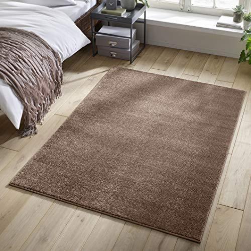 Designer-Teppich Pastell Kollektion | Flauschige Flachflor Teppiche fürs Wohnzimmer, Esszimmer, Schlafzimmer oder Kinderzimmer | Einfarbig, Schadstoffgeprüft (Grau Braun, 140 x 200 cm)