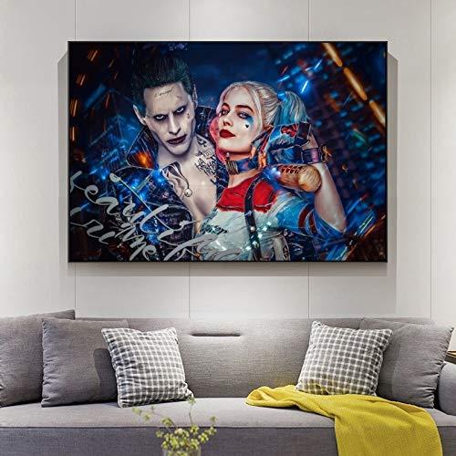 wZUN Póster de película de cómics de Harley Quinn, Equipo de impresión en Lienzo, póster de Payaso, decoración de Pared, Pintura para decoración de Sala de Estar, Pintura 60x90 Sin Marco