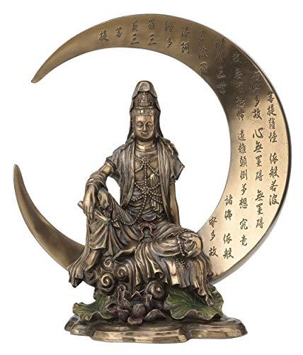 Guan Yin Sutra Statue, sitzend auf Halbmond mit Herz, Bodhisattva