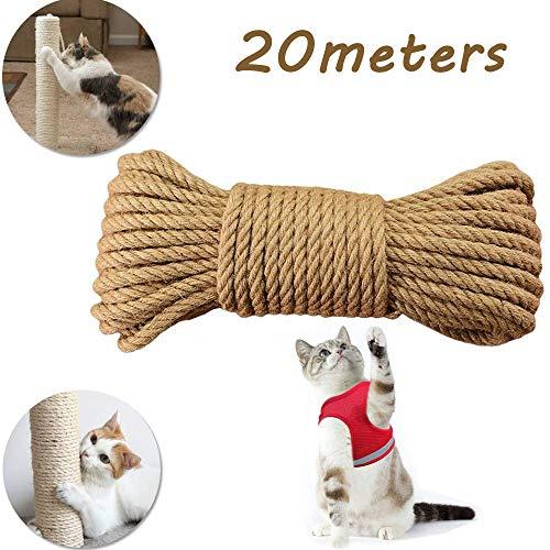 HUOHUOHUOHUO cuerda para gatos, cuerda de sisal natural, gatos, cuerda de sisal natural, accesorio para gatos, cuerda para rascadores, cuerda de sisal natural, cuerda de sisal para árbol rascador