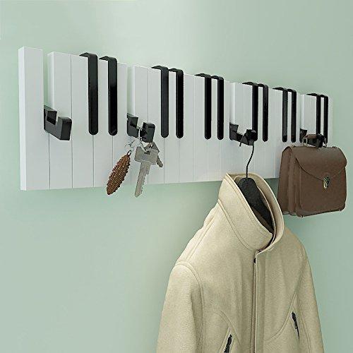 LJHA Porte-Manteaux créatifs muraux en Bois Solide/Supports de Chambre à Coucher/Piano accrochant/cintres de Mur (2 Couleurs facultatives) Cintres (Couleur : Noir)