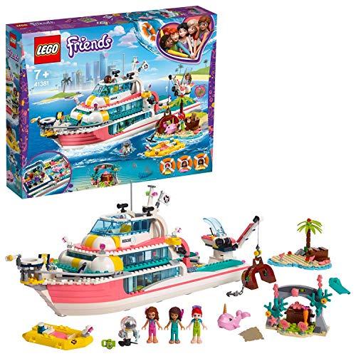 LEGO Friends MotoscafodiSalvataggio con Isola, Giocattoli per Bambini con le Mini-doll di Olivia,AndreaeMia,più le Figure di Robot e Balena, 41381