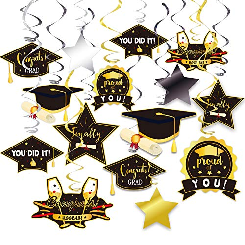 2021 Graduation Hanging Decorations Foil Swirl Kit, Big Pack of 33 No DIY Required, Black Gold and Silver College Party Supplies