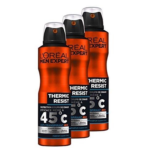 L'Oréal Men Expert Thermic Resist - Desodorante de espray para hombre–Juego de 3 unidades