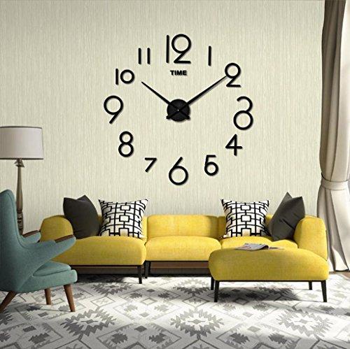 Vovotrade Horloge Murale Salon DIY Décoration intérieure 3D Miroir Grand Design Art (Noir)