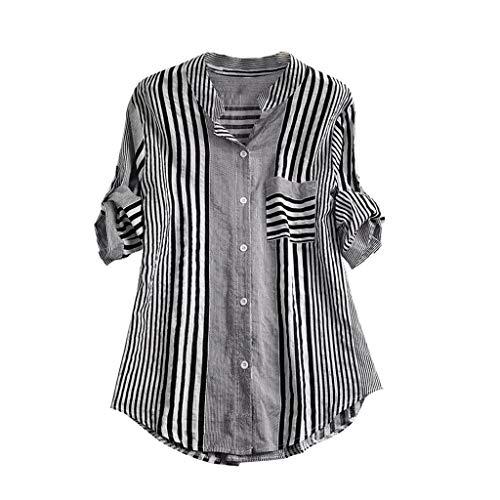 MORCHAN Femmes Taille Plus Genoux rayé à Encolure en V Imprimer Loose Fit Top T-Shirt Chemisier