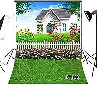 写真の新しい春の背景5x7ft庭の花屋外ペット写真背景スタジオの小道具ビニールカスタマイズBJ160