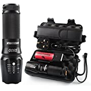 High Power Torches Led Super Bright, Rechargeable Led Torch Powerful, Shadowhawk X800 LED Military Grade Torch Rechargeable Tactical Flashlight kit, 1300 Lumens 26650 Battery Torch, Warranty for Two Years