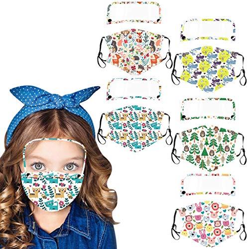GJKK 5PC Kinder Mund- und Nasenschutz, staubdichte integrierte Schutz mit Motiv abnehmbare Schutzbrillen im Freien Unisex Outdoor Mundschutzschutz mit Wiederverwendbare