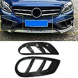GIAO Rejilla de luz antiniebla Cubierta De La Luz Negro Parrilla del Parachoques Delantero Niebla Recorte En Fit For El Benz W205 C43 AMG Sport 2015-18, Parachoques Parrilla De La Parrilla Cubierta