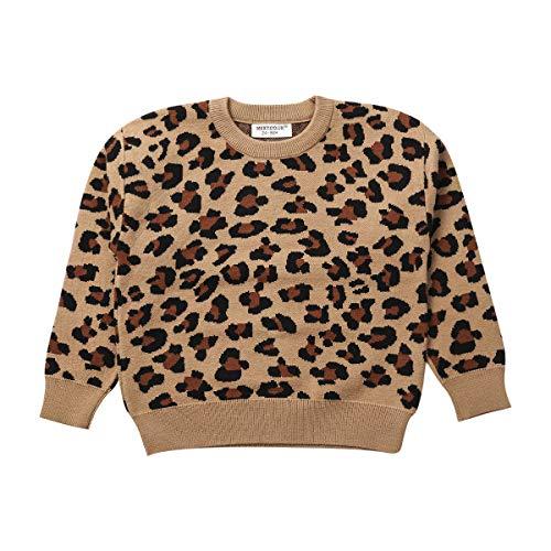 Niños bebé niña niño suéter de Punto de Leopardo Cuello Redondo de...