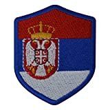 benobler FanShirts4u Aufnäher - SERBIEN - Wappen - 7 x 5,6cm - Bestickt Flagge Patch Badge Fahne Srbija (Blaue Umrandung)