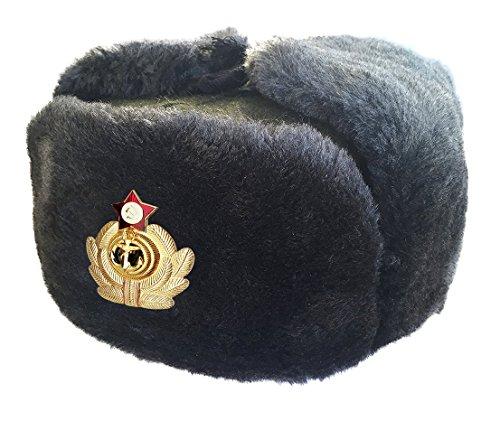 CUCUBA® RUSSISCHE GRAU MÜTZE SCHAPKA USCHANKA WINTERMÜTZE MILITÄRMÜTZE DER SOWIETISCHEN Marine - Geschenkidee (60 Size XL (EU))