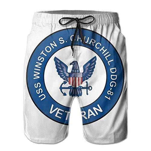 VFBGF Pantalones Cortos para Hombres Pantalones de Cinco Puntos Pantalones de Playa Pantalones Casuales USS Winston S Churchill Ddg-81 Veteran Summer Must-Have Beach Men's Beach Shorts
