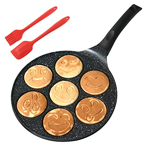 Gmzcky 10inch Emoji Smiley Face Mini Pancake Pan a Nonstick Pancake Maker That Can Make 7 Unique Pancakes at One Time a Pancake Griddle That Makes Children Fall in Love With Breakfast