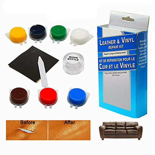 EFEG 7 Colors Leather and Vinyl Repair Kit, Leather Restorer, Liquid Leather Touch Up Recolor Kit, for Couch Sofa Car Seat Your Jacket Purse Belt Shoes Etc,Professional