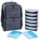 EDC Meal Prep Backpack by Evolutionize - Full Meal Management System - Holds 6 Meals - Includes Portion Control Meal Prep Containers + Ice Pack (BACKPACK - 6 Meal, Grey (Waxed Canvas))