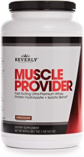 Beverly International Muscle Provider Protein Powder 30 servings, Chocolate. 10X-Strength whey protein hydrolysate-isolate for rapid lean muscle repair and growth. Easy bloat-free digestion.
