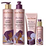 Pantene Gold Series Hair Mask, Anti-Breakage Combing Crème, Overnight Repair Serum, and Cleansing Conditioner, with Biotin & Kukui Nut, for Natural, Curly and Coily, Textured Hair