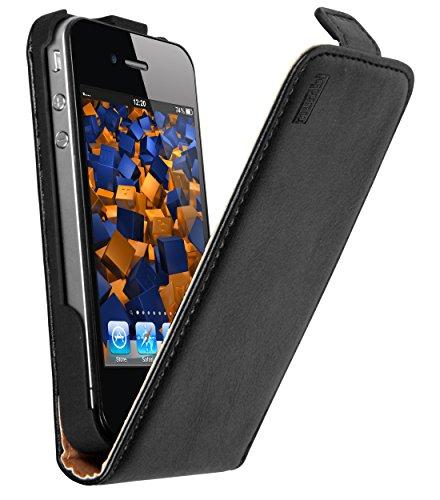 mumbi Echt Leder Flip Hülle kompatibel mit iPhone 4 / 4S Hülle Leder Tasche Hülle Wallet, schwarz