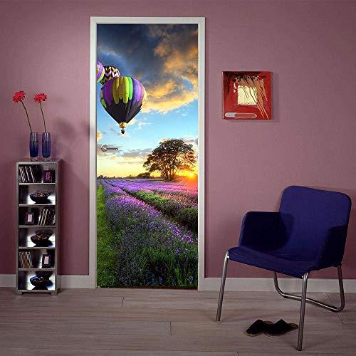 WGSJA 3d Lavendel hete lucht ballon creatieve deur stickers deur schilderij muurschildering verwijderbare waterdichte muur stickers slaapkamer woonkamer DIY behang